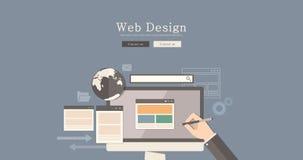 Het vlakke conceptontwerp van het het Webontwerp van de ontwerpillustratie, vat stedelijke modern&classic stijl, hoogte samen - k Stock Foto's