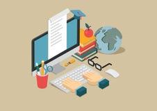 Het vlakke 3d infographic concept van het Web isometrische online onderwijs vector illustratie