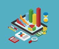 Het vlakke 3d isometrische concept van bedrijfsfinanciën grafische analytics Royalty-vrije Stock Foto