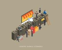 Het vlakke 3d isometrische conceptontwerp van de illustratieelektronische handel, vat stedelijke moderne stijl, hoogte samen - kw Royalty-vrije Stock Fotografie