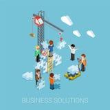 Het vlakke 3d isometrische infographic concept van het bedrijfsoplossingenweb Stock Foto