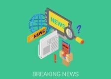 Het vlakke 3d isometrische infographic hete brekende nieuws van het conceptenweb Royalty-vrije Stock Fotografie