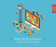 Het vlakke 3d isometrische infographic Web van het ontwerpconcept stock illustratie