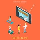 Het vlakke 3d vector isometrische online radio luisteren van muziekinternet Stock Foto
