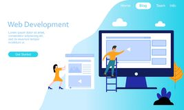 Het vlakke embleem van de de ontwikkelingsillustratie van het ontwerpweb stock illustratie