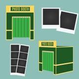 Het vlakke en 3d pictogram van de fotocabine Het Element van Infographic Klassieke fotokaders Stock Foto's