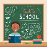 Het vlakke gelukkige donkere gevilde meisje van het stijlpictogram in klaslokaal royalty-vrije illustratie