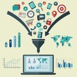 Het vlakke infographic concept van de ontwerp vectorillustratie met pictogrammen s Royalty-vrije Stock Afbeelding