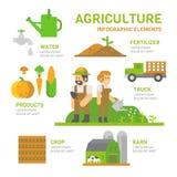 Het vlakke infographic ontwerp van het landbouwlandbouwbedrijf Royalty-vrije Stock Fotografie