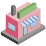 Het vlakke Isometrische Ontwerp van wolkenkrabber roze hoge gebouwen stock illustratie