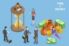 Het vlakke isometrische vectorconcept tijd is geld, de inkomensgroei, roi royalty-vrije illustratie