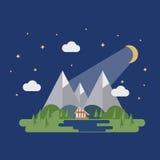 Het vlakke landschap van de nachtzomer Stock Foto