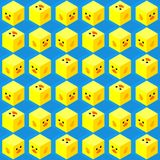 Het vlakke leuke isometrische naadloze patroon van het eendgezicht royalty-vrije stock afbeeldingen