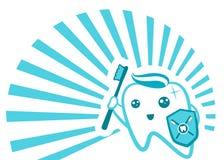 Het vlakke Leuke Tandkarakter flossing, het borstelen, het spoelen, vector de illustratiereeks van de bederfbescherming Tand gezo Stock Fotografie