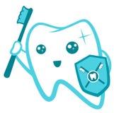 Het vlakke Leuke Tandkarakter flossing, het borstelen, het spoelen, vector de illustratiereeks van de bederfbescherming Tand gezo Stock Afbeeldingen