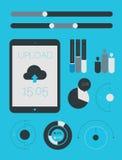 Het vlakke malplaatje en infographics van UI Stock Foto