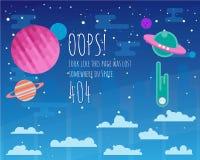 Het vlakke malplaatje van de foutenpagina met ruimteufo, zonnestelselelementen Stock Foto