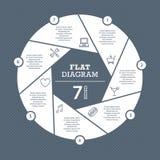 Het vlakke malplaatje van het blinddiagram voor uw bedrijfspresentatie met tekstgebieden en pictogrammen Stock Fotografie