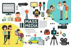 Het vlakke Malplaatje van Massamediainfographic stock illustratie