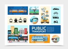 Het vlakke Malplaatje van Openbaar Vervoerinfographic vector illustratie