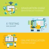 Het vlakke online onderwijs infographic concept van het e-lerende studieexamen
