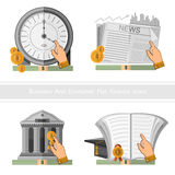 Het vlakke ontwerp bedrijfspictogram verdient en vermenigvuldigt geld en de tijd is geld Royalty-vrije Stock Foto