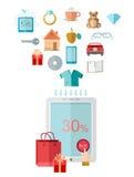 Het vlakke ontwerp e marketing illustratie e winkelen Stock Afbeeldingen
