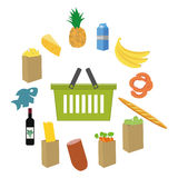 Het vlakke ontwerp kleurde vectorillustratie van voedsel en drankproducten, concept voor kleinhandel Stock Fotografie