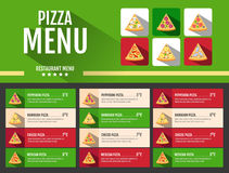 Het vlakke ontwerp van het de pizzamenu van het stijl snelle voedsel Stock Foto