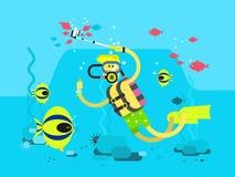 Het vlakke ontwerp van het duikerkarakter royalty-vrije illustratie