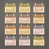 Het vlakke ontwerp van het kalender 2015 jaar Stock Fotografie