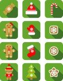 Het vlakke ontwerp van het Kerstmispictogram stock foto's