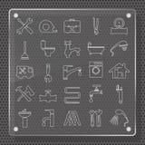 Het Vlakke Ontwerp van loodgieterswerkpictogrammen royalty-vrije illustratie