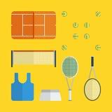 Het vlakke ontwerp van tennispictogrammen Stock Afbeeldingen