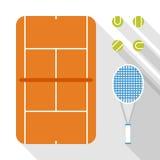 Het vlakke ontwerp van tennispictogrammen Stock Foto's
