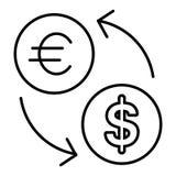 Het vlakke ontwerp van het uitwisselingspictogram Vectordiepictogram van euro en dollar op wit wordt geïsoleerd Overzichtsstijl royalty-vrije illustratie