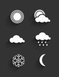 Het vlakke ontwerp van weerpictogrammen Stock Foto