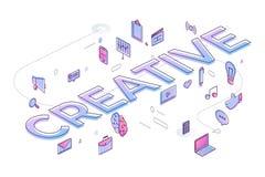 Het vlakke ontwerpconcept leidt tot groot idee met IDEE De vector illustreert vector illustratie