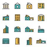 Het in vlakke pak van het lijnpictogram voor ontwerpers en ontwikkelaars Vector het pictogramreeks van lijngebouwen stock illustratie