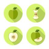Het vlakke pictogram van Apple Royalty-vrije Stock Afbeeldingen