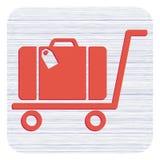 Het vlakke pictogram van het bagagekarretje vector illustratie