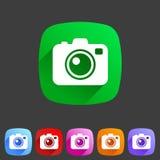 Het vlakke pictogram van de fotocamera Stock Foto's