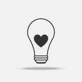 Het vlakke pictogram van de hart gloeilamp met schaduw Stock Fotografie