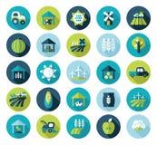 Het vlakke pictogram van het landbouwbedrijfgebied met lange schaduw Stock Afbeelding
