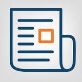 Het vlakke pictogram van het lijnrapport Laconieke blauwe en oranje lijnen op grijze achtergrond geïsoleerd vectorvoorwerp Stock Fotografie