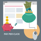 Het vlakke pictogram van het ontwerpconcept van loon per klik Stock Fotografie