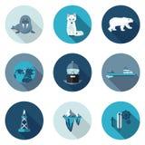 Het vlakke pictogrammennoordpoolgebied Royalty-vrije Stock Afbeeldingen