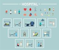 Het vlakke pictogramziekenhuis Stock Fotografie