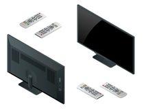 Het vlakke scherm lcd, plasma realistische vectorillustratie, TV-spot van TV omhoog Zwart HD-monitormodel Moderne videopaneelzwar Royalty-vrije Stock Afbeelding