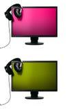 Het vlakke scherm met hoofdtelefoons Stock Fotografie